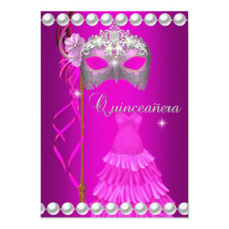 Quinceanera 15 Tiara Gown Pink Mask Silver White 13 Cm X 18 Cm Invitation Card
