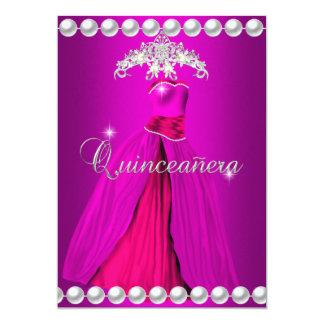 Quinceanera 15 Tiara Gown Pink Silver White Pearl 13 Cm X 18 Cm Invitation Card