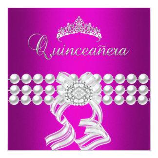 Quinceanera 15 Tiara Magenta Silver White Pearl 13 Cm X 13 Cm Square Invitation Card