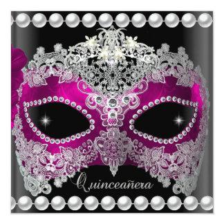 Quinceanera 15 Tiara Pink Mask Silver black 13 Cm X 13 Cm Square Invitation Card