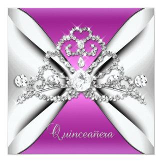 Quinceanera 15 Tiara Pink Silver White 13 Cm X 13 Cm Square Invitation Card