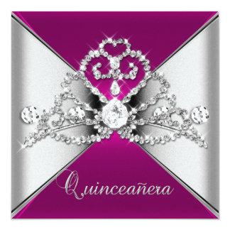 Quinceanera 15 Tiara Pink Silver White Diamond 13 Cm X 13 Cm Square Invitation Card