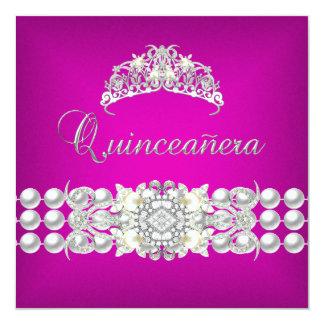 Quinceanera 15 Tiara Pink Silver White Pearl 2 13 Cm X 13 Cm Square Invitation Card