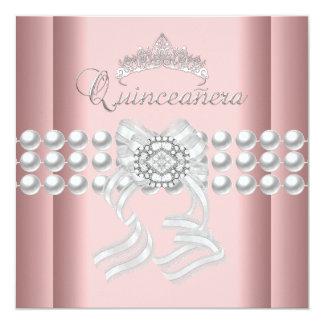 Quinceanera 15 Tiara Pink Silver White Pearl Pink 13 Cm X 13 Cm Square Invitation Card