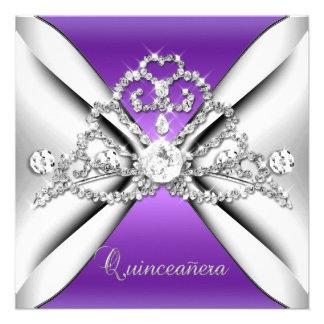Quinceanera 15 Tiara Purple Silver White Invite
