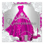 Quinceanera 15th 15 Birthday Pink Dress Shoes 13 Cm X 13 Cm Square Invitation Card