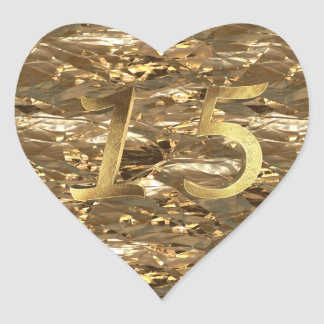 Quinceanera 15th Birthday 15th Anniversary Gold Heart Sticker