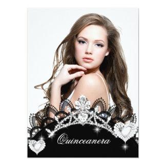 """Quinceanera 15th Birthday Black Lace Silver White 6.5"""" X 8.75"""" Invitation Card"""