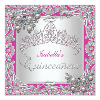 Quinceanera 15th Birthday Butterflies Silver Pink 13 Cm X 13 Cm Square Invitation Card