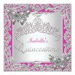 Quinceanera 15th Birthday Butterflies Silver Pink Personalised Invites