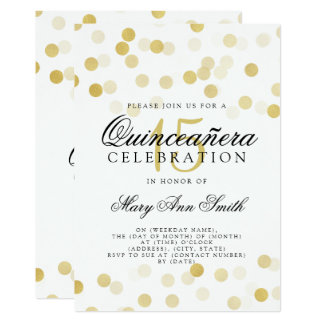 Quinceanera 15th Birthday Gold Foil Glitter Lights Card