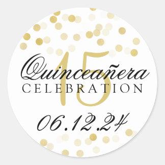 Quinceanera 15th Birthday Gold Foil Glitter Lights Round Sticker