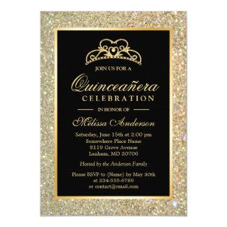 Quinceanera 15th Birthday Gold Glitter Sparkles 13 Cm X 18 Cm Invitation Card