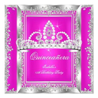 Quinceanera 15th Birthday Hot Pink Silver Tiara 13 Cm X 13 Cm Square Invitation Card