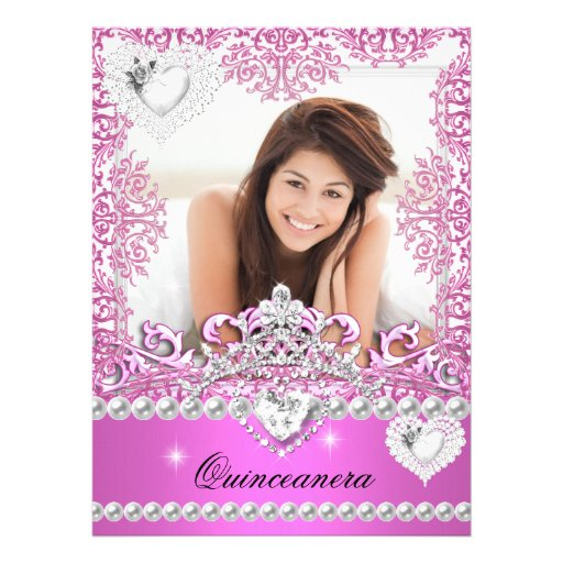Quinceanera 15th Birthday Hot Pink Silver White 2 Custom Invitations