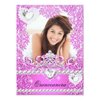 Quinceanera 15th Birthday Hot Pink Silver White 3 6.5x8.75 Paper Invitation Card