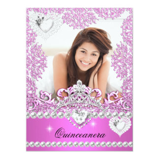 Quinceanera 15th Birthday Hot Pink Silver White 6.5x8.75 Paper Invitation Card