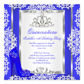 quinceanera 15th birthday magical royal blue shoe card - Royal Blue Quinceanera Invitations