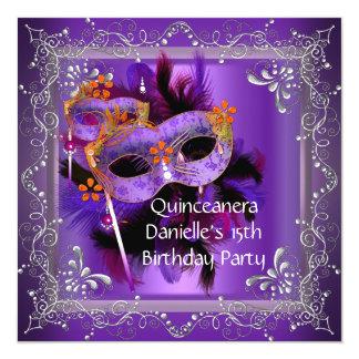 Quinceanera 15th Birthday Masquerade Mask Purple 13 Cm X 13 Cm Square Invitation Card