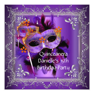Quinceanera 15th Birthday Masquerade Mask Purple Card