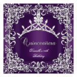 Quinceanera 15th Birthday Party Dark Purple Invitation