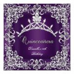 Quinceanera 15th Birthday Party Dark Purple 13 Cm X 13 Cm Square Invitation Card