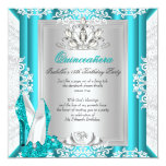 Quinceanera 15th Birthday Party Glitter Blue Shoes 13 Cm X 13 Cm Square Invitation Card