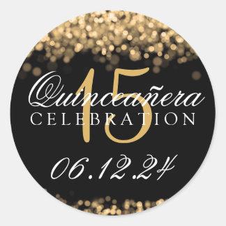 Quinceanera 15th Birthday Party Gold Lights Round Sticker