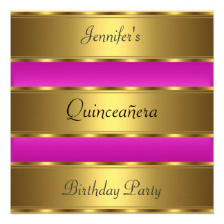 Quinceañera 15th birthday Party Gold Pink Invites