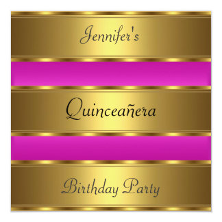 Quinceañera 15th birthday Party Gold Pink 5.25x5.25 Square Paper Invitation Card