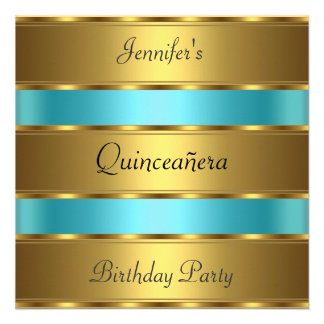 Quinceañera 15th birthday Party Gold Teal Custom Invites