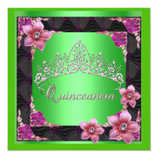Quinceanera 15th Birthday Party lime Tiara Black 5.25x5.25 Square Paper Invitation Card