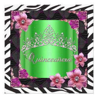 Quinceanera 15th Birthday Party lime zebra Tiara Custom Invites