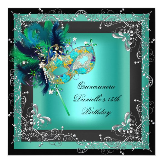Quinceanera 15th Birthday Party Masquerade Card