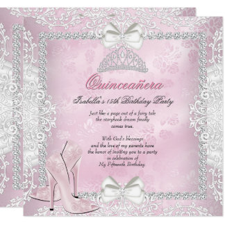 Quinceanera 15th Birthday Party Pink High Heels Card