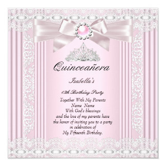 Quinceanera 15th Birthday Party Pink Lace Tiara 13 Cm X 13 Cm Square Invitation Card