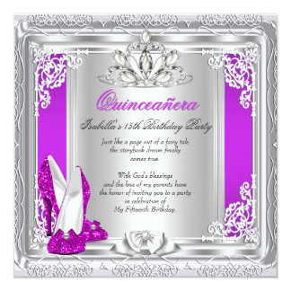 Quinceanera 15th Birthday Party Pink Shoes 13 Cm X 13 Cm Square Invitation Card