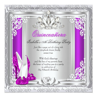 Quinceanera 15th Birthday Party Pink Shoes 2 13 Cm X 13 Cm Square Invitation Card