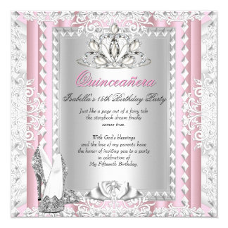 Quinceanera 15th Birthday Party Pink Shoes Deco Card