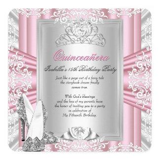 Quinceanera 15th Birthday Party Pink Silver Tiara 13 Cm X 13 Cm Square Invitation Card