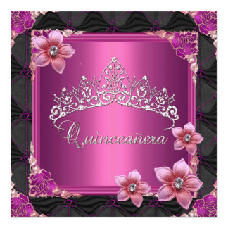 Quinceanera 15th Birthday Party Pink Tiara Button Personalized Invite