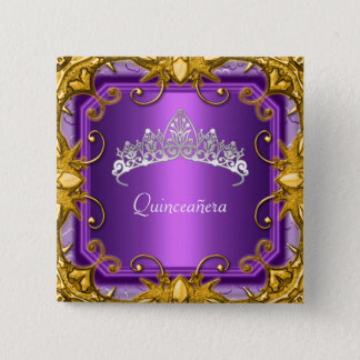Quinceanera 15th Birthday Party Purple Tiara 15 Cm Square Badge