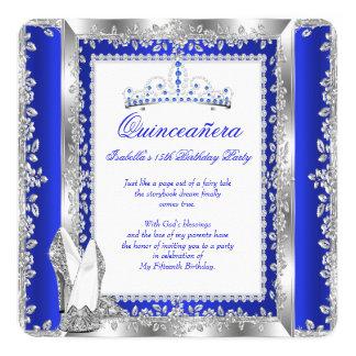 Quinceanera 15th Birthday Party Royal Blue Silver 13 Cm X 13 Cm Square Invitation Card
