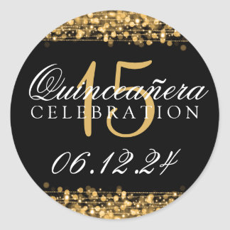 Quinceanera 15th Birthday Party Sparkles Gold Round Sticker