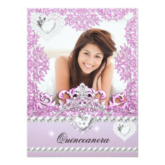 Quinceanera 15th Birthday Pink Lilac Silver White 17 Cm X 22 Cm Invitation Card