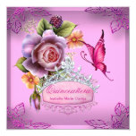 Quinceañera 15th Birthday PINK Tiara Butterfly 13 Cm X 13 Cm Square Invitation Card
