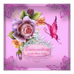 Quinceañera 15th Birthday PINK Tiara Butterfly Personalized Announcements