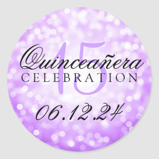 Quinceanera 15th Birthday Purple Bokeh Lights Classic Round Sticker