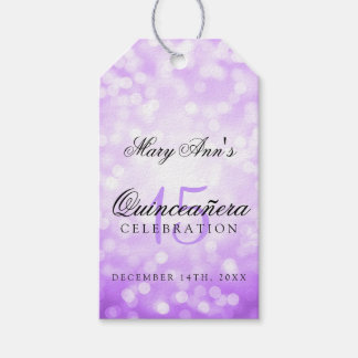 Quinceanera 15th Birthday Purple Bokeh Lights Gift Tags