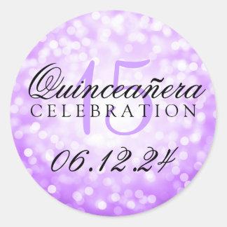 Quinceanera 15th Birthday Purple Bokeh Lights Round Sticker